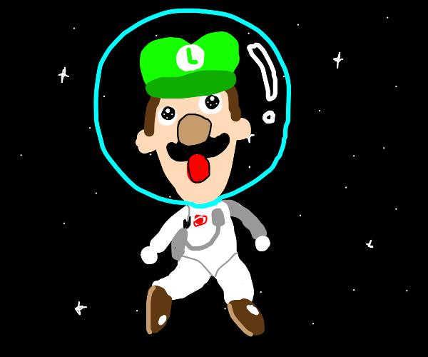 Luigi the astronaut in space
