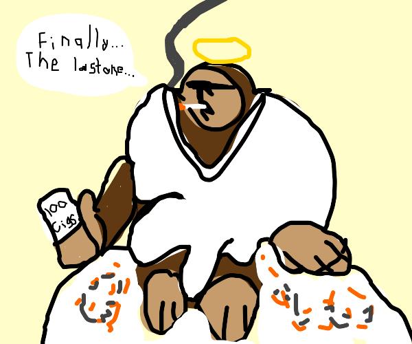 Angel Gorilla lights his 100th cigarette