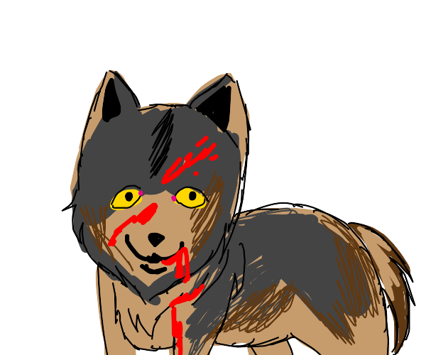 happy realistic bloody wolf