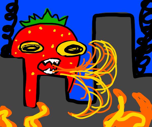 Giant strawberry attacks city