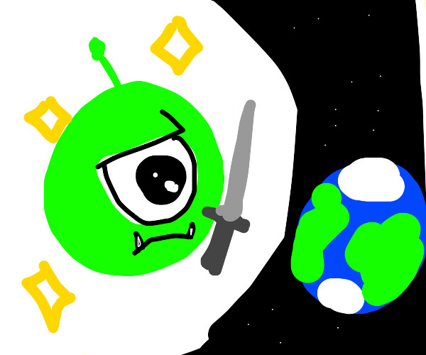 green ball from monstersU wants to save earth