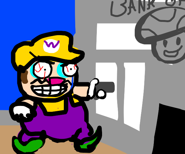 Wario attempts to rob Toad's bank