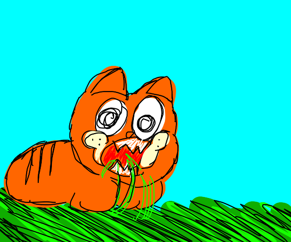 Garfield chows down on the lawn