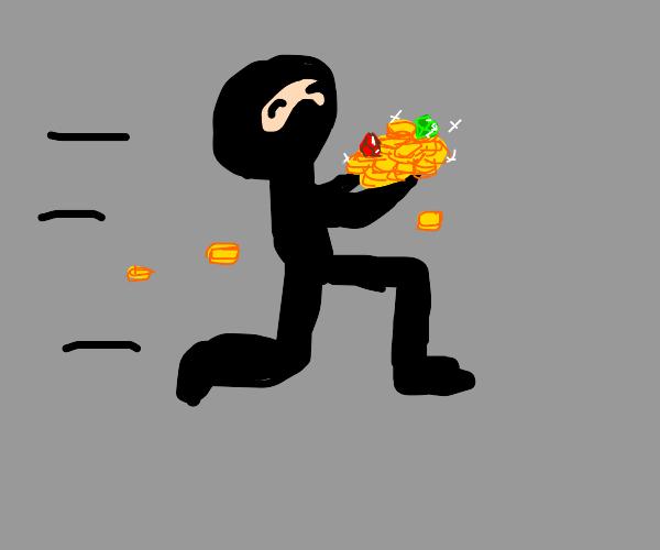Ninja running away with treasure.