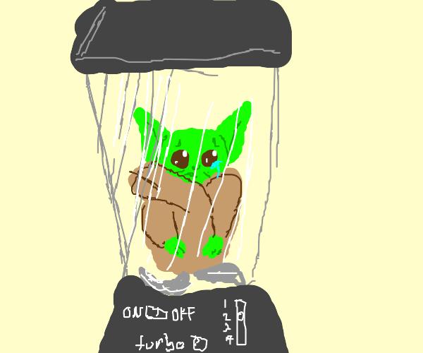 Baby yoda in a blender