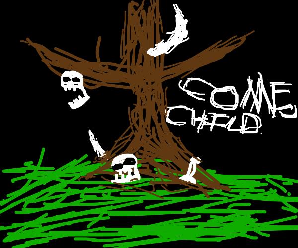 a welcoming bone tree