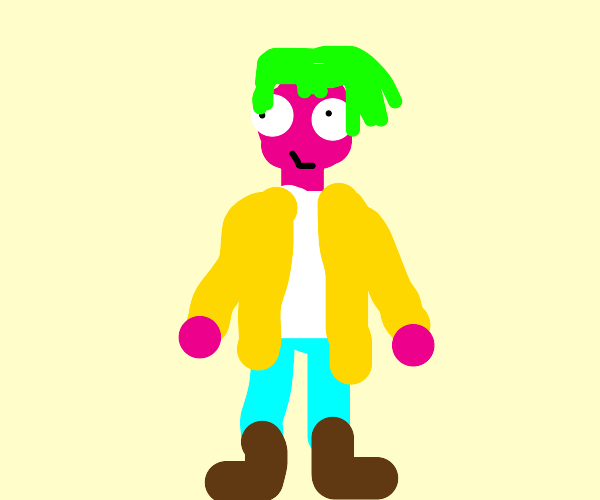 Pink man with green hair and yellow jacket