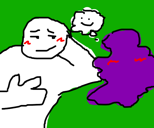 Friends with a purple blob