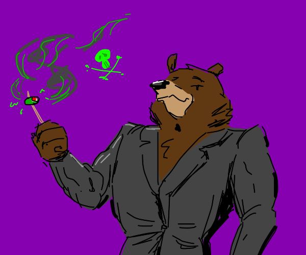 Bear in suit and stinky olive