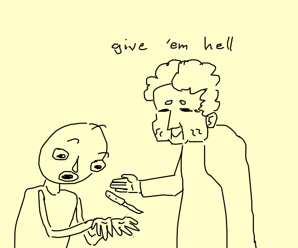 granny gives knife to baldi