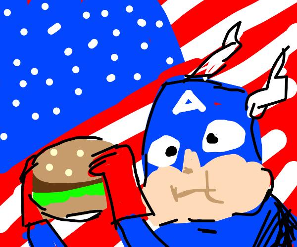 Captain America eating a burger