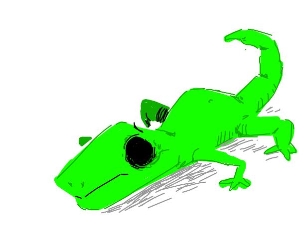 Lizard a little sad with void eyes