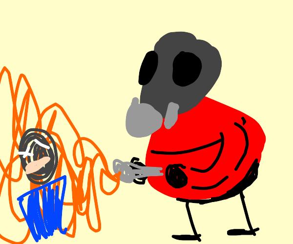 TF2 Pyro burning a spy trying to kill pootis