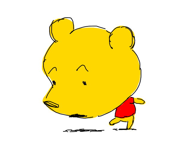 Winnie the Pooh with a gigantic head