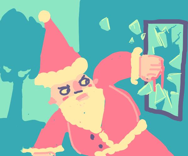 Santa vandalizing public property