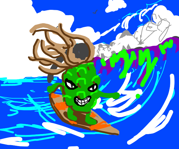 Grenade with dreads surfing