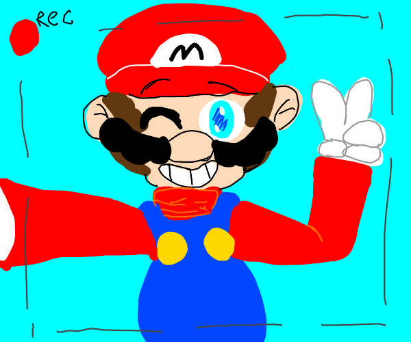 Mario takes a picture