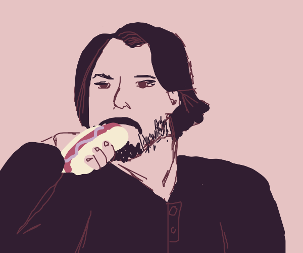 keanu reeves eating a hot dog