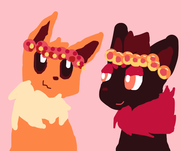 eevee and another pokemon got flower crowns:)