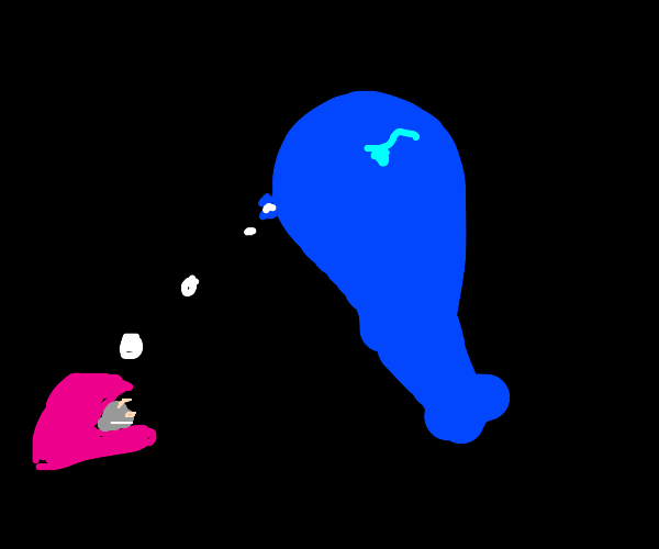 whale spitting on clam