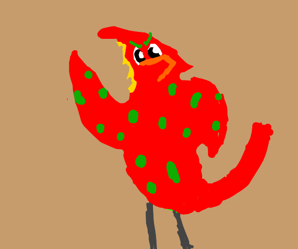Pretty red bird with green spots