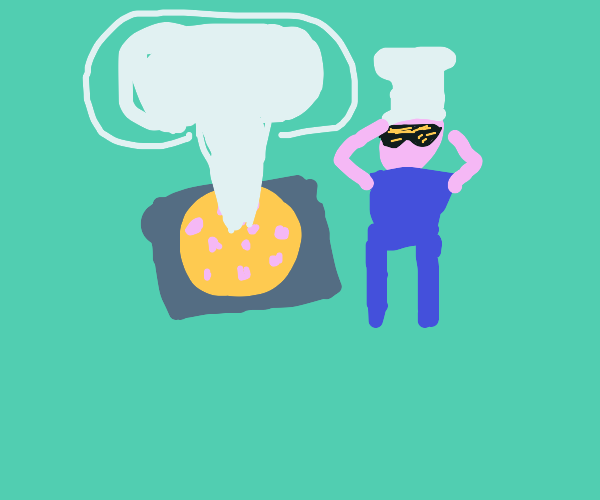 A mushroom cloud coming out of a pizza.