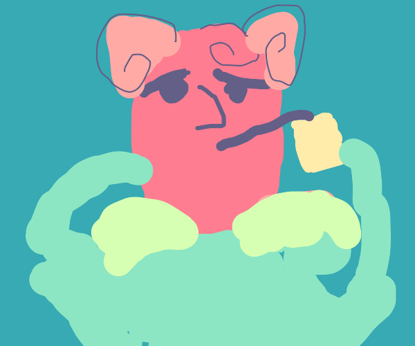 Human Jigglypuff drinks lemonade