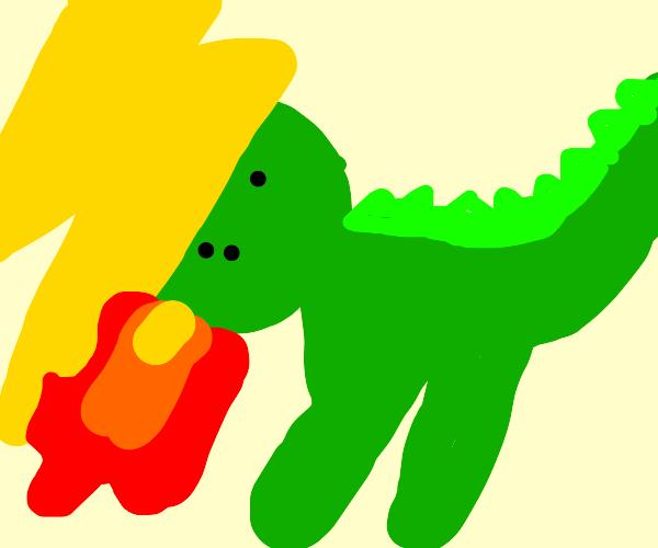 Lightning god fights a dragon