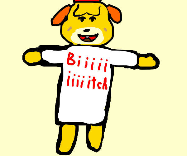 Isabelle wearing a big t-shirt