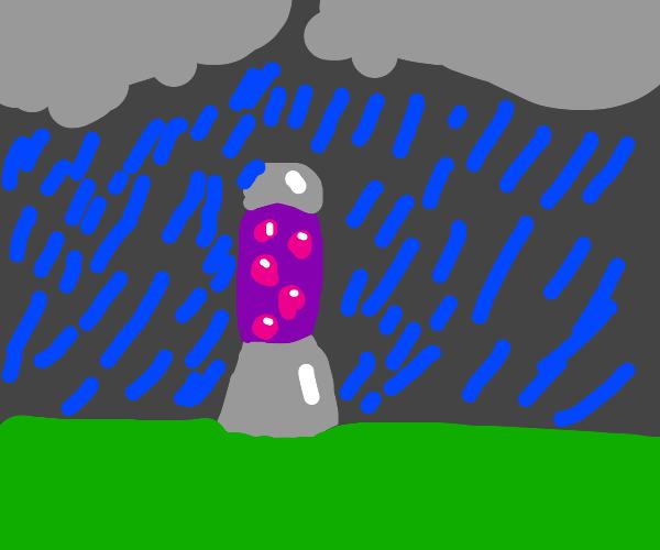 lava lamp in rainstorm