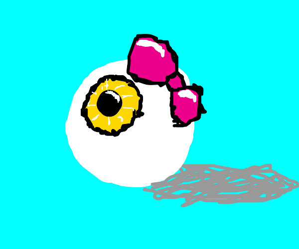 eyeball with pink ribbon