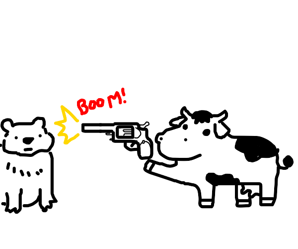 cow shoots bear