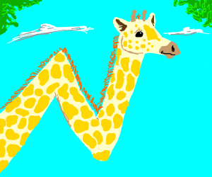 a giraffe with the neck forming the letter N