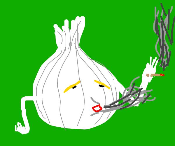 an onion smoking a siggy