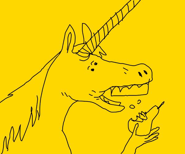 Unicorn eating pear