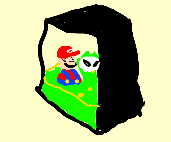 Mario is digested by a black cube