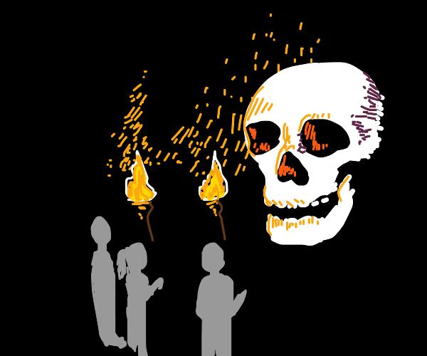 Three people with big skull head at night