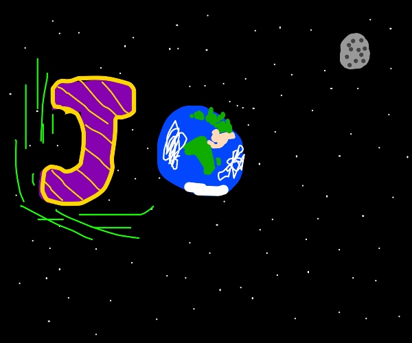 The letter J orbiting the Earth