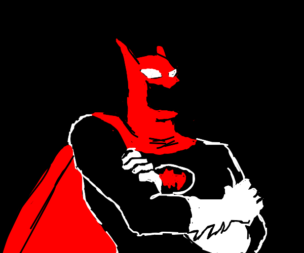 Batman but no face and red cape and belt