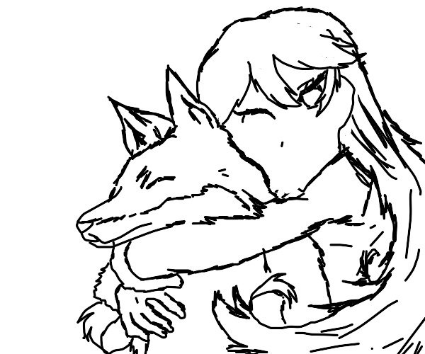 woman cuddles fox