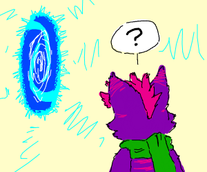 Furry stares into blue portal confused