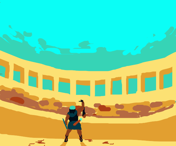 Gladiator holding up man's head