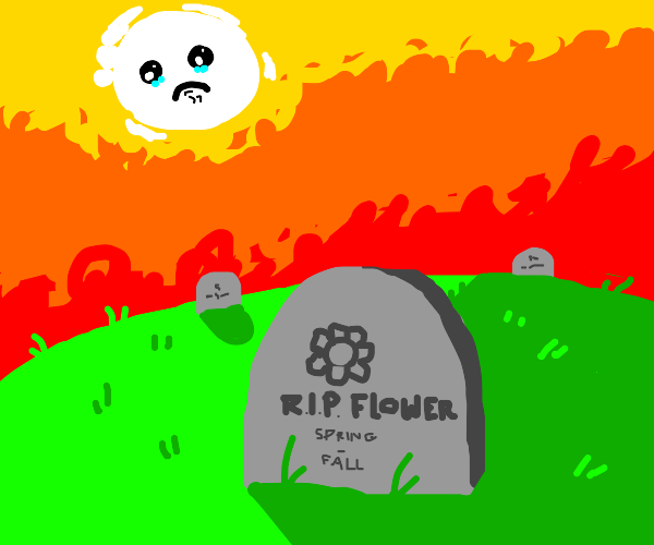 plant cemetary, paper color sun is sad