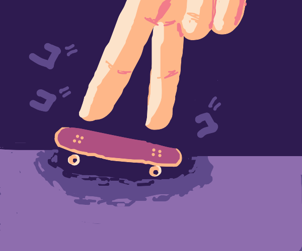 the tiny skateboard for fingers is menacing