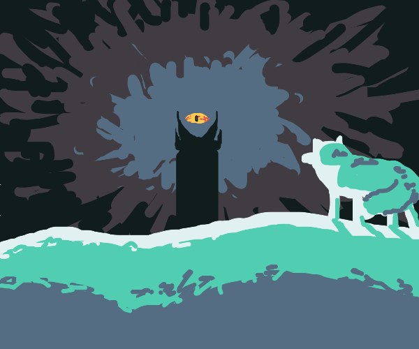An artic fox looking at the eye of sauron