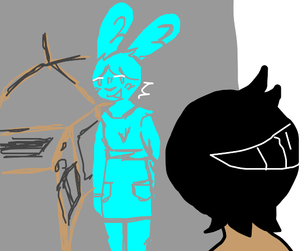 Ghost anthro rabbit with apron