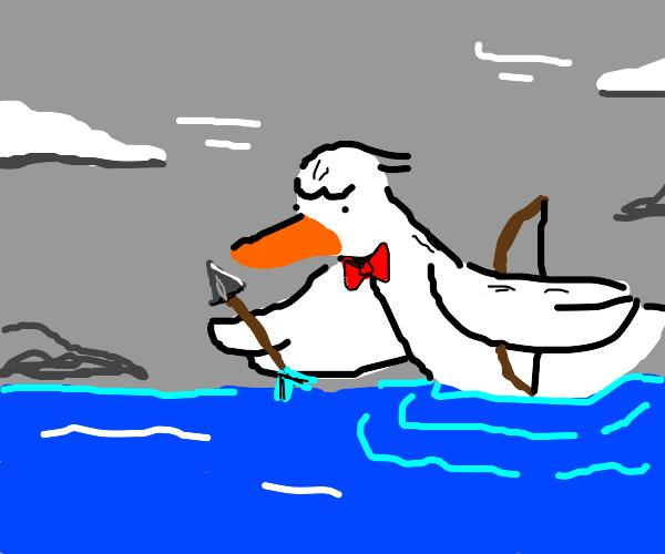 Fancy duck has a bow and arrow