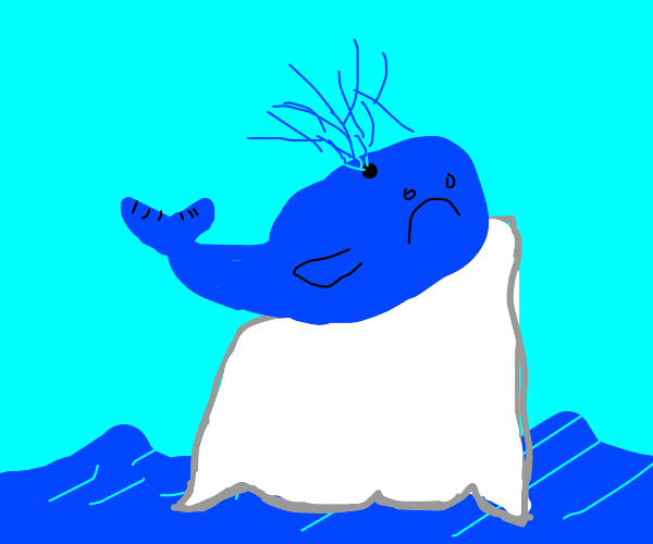 Sad whale trapped on huge iceberg