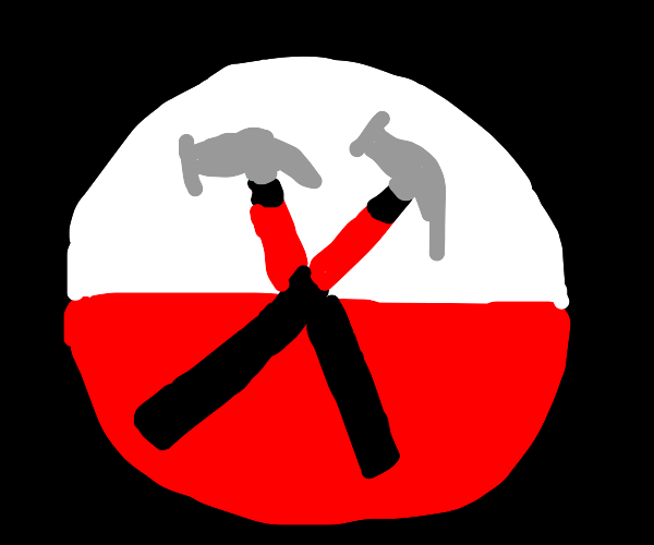Hammers in an X shape with red + white circle