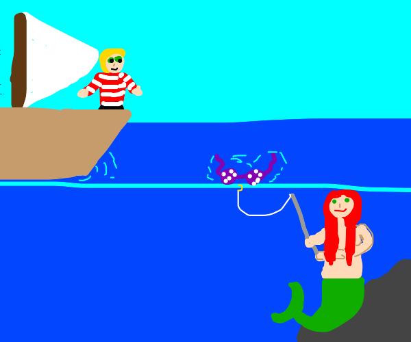 Mermaid fishing for humans